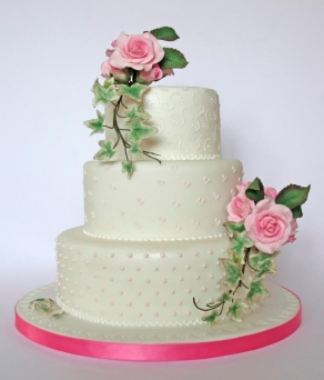 Rose spray wedding cake