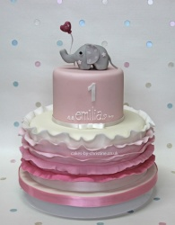Elephant and balloon birthday cake