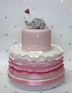 Elephant, balloon and ruffles birthday cake for a little girl