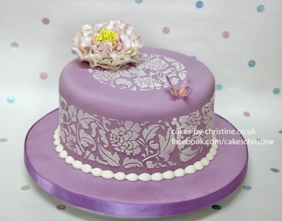 Lilac stencilled cake with Peony