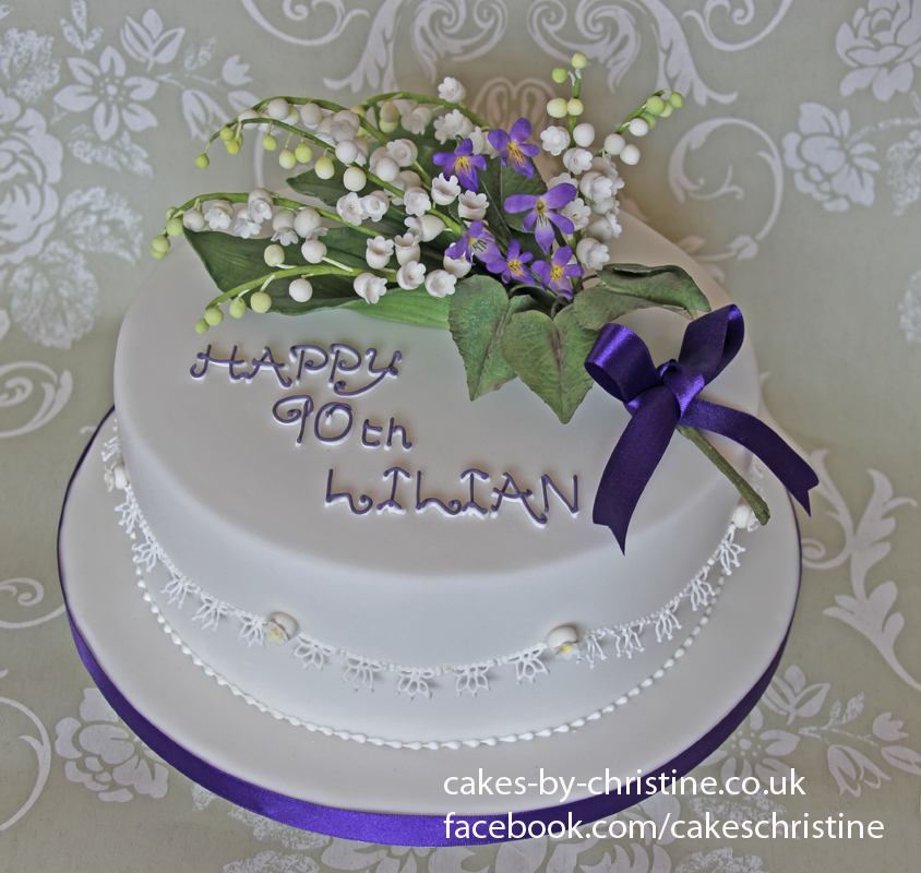Lily of the Valley and Violets Birthday Cake