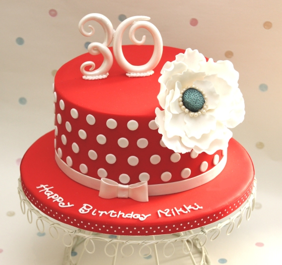 Red birthday cake with white polka dots