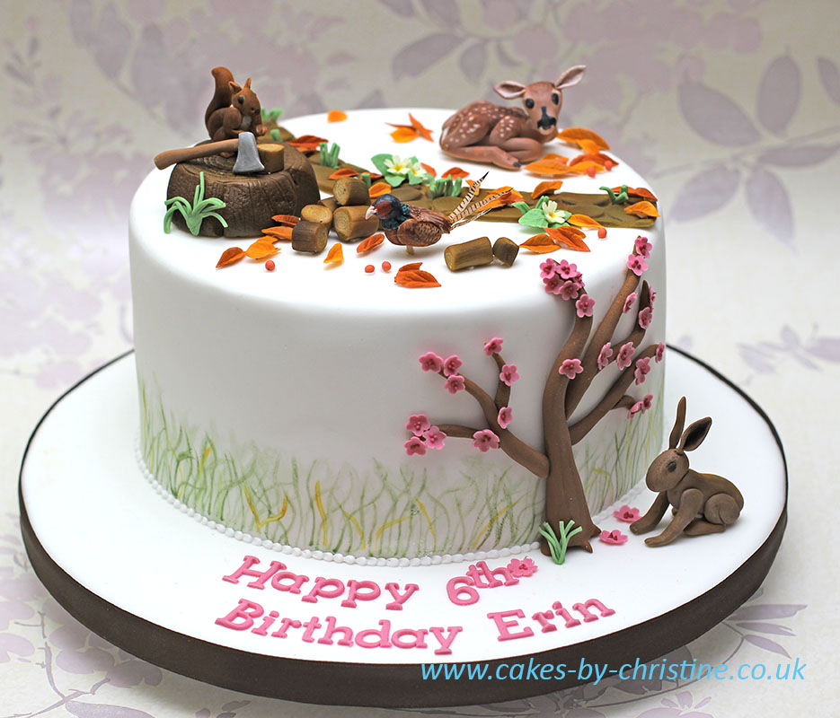 A woodland themed cake