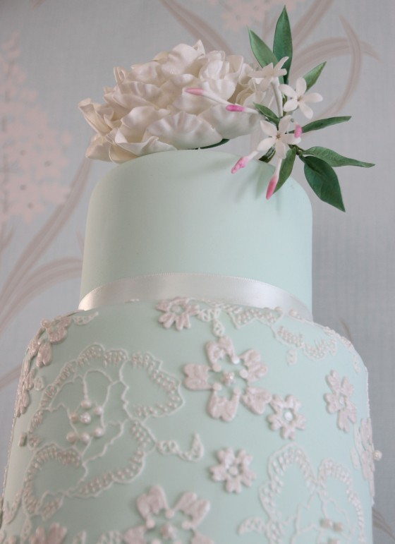 Peony and Lace Wedding Cake