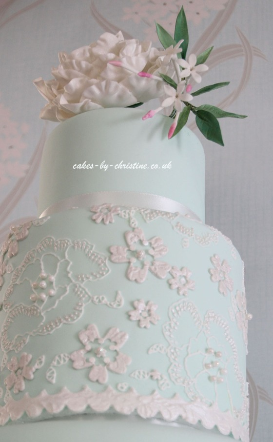 Peony and Lace Wedding Cake 2014