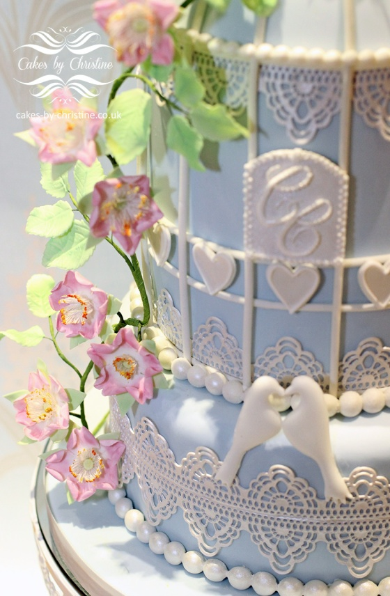 Bird Cage Cake with briar roses and lace wedding cake