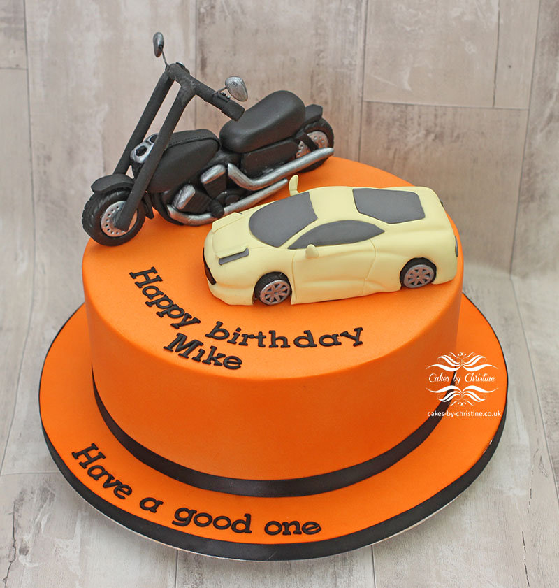 Birthday cake with bike and car Cakes by Christine